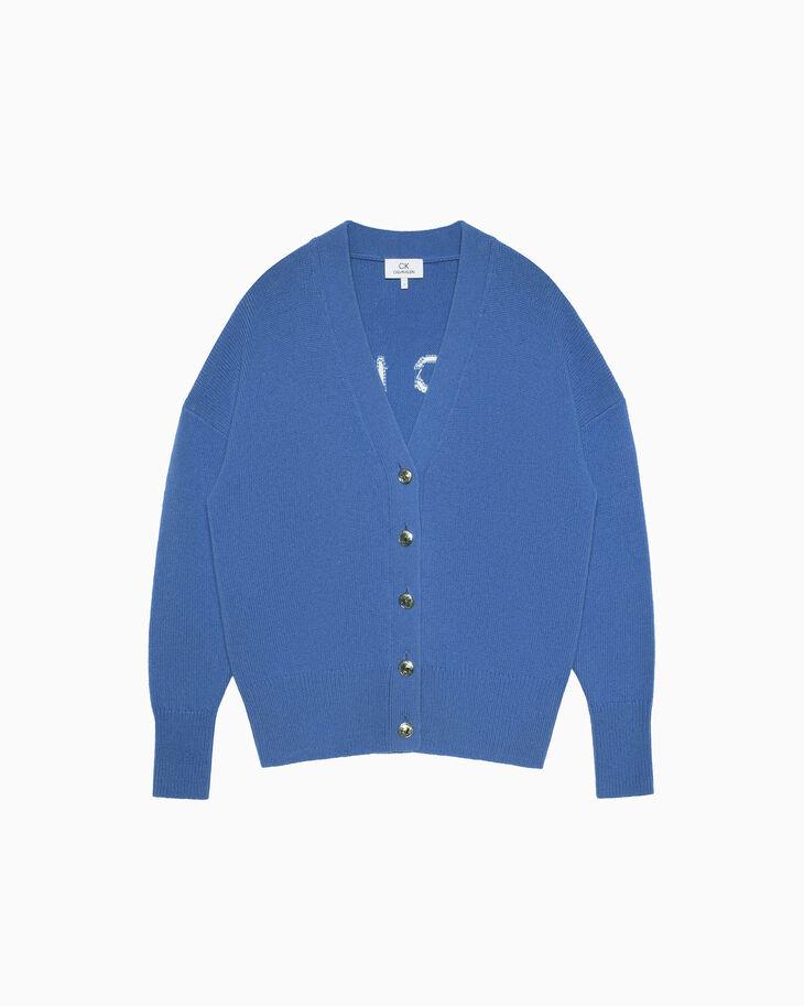 CALVIN KLEIN INTARSIA LOGO 羊毛開襟衫
