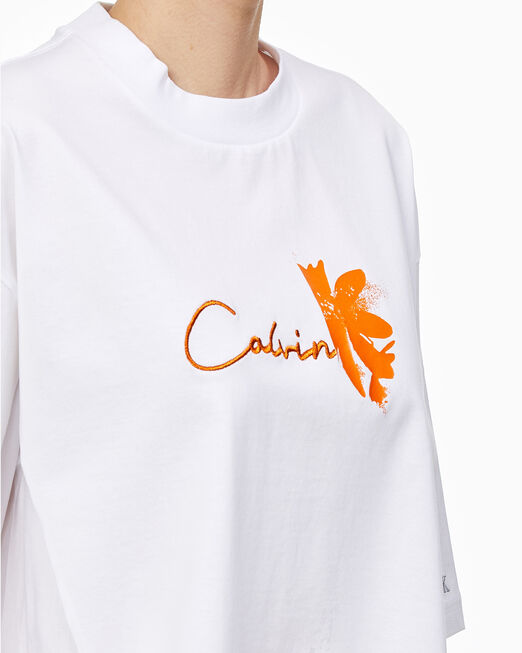 CALVIN KLEIN 여성 프리미엄 믹스 미디어 티셔츠