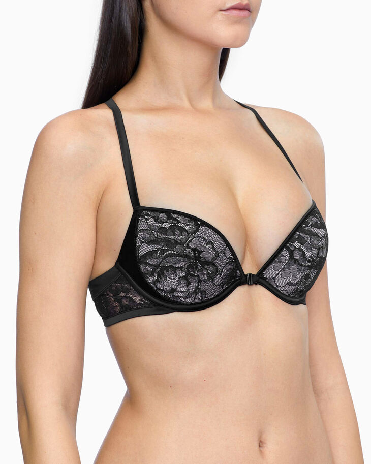 CALVIN KLEIN BLOOMING FLORAL PUSH UP PLUNGE BRA