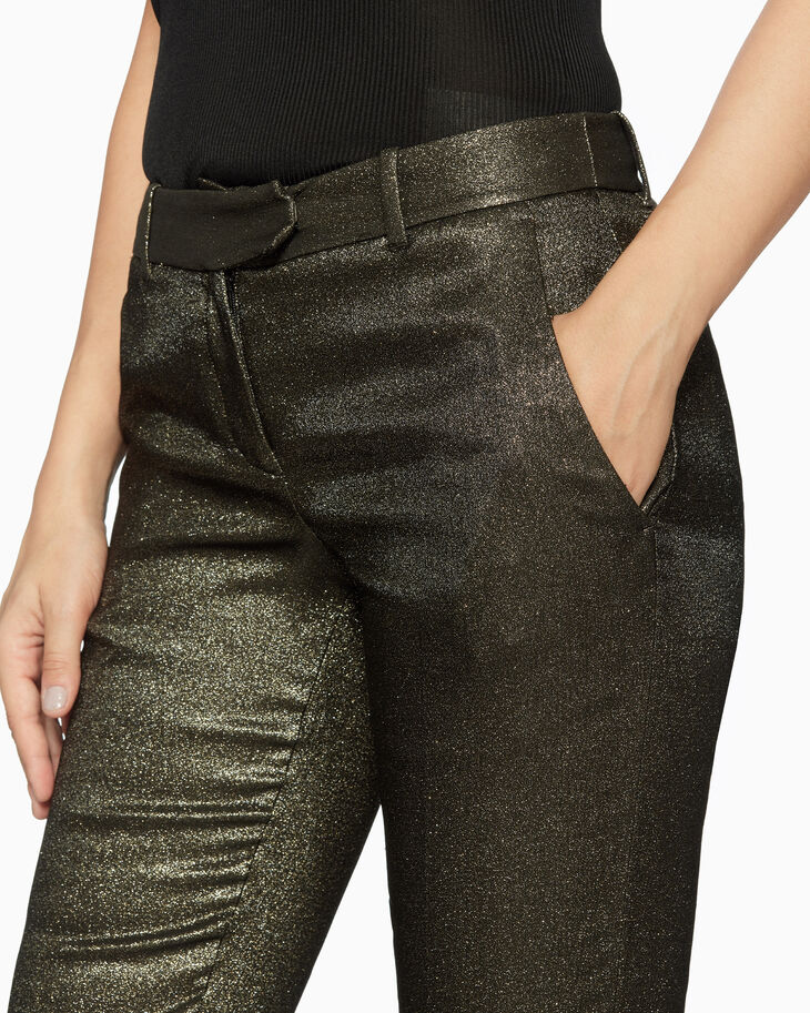 CALVIN KLEIN METALLIC CROPPED SUIT PANTS