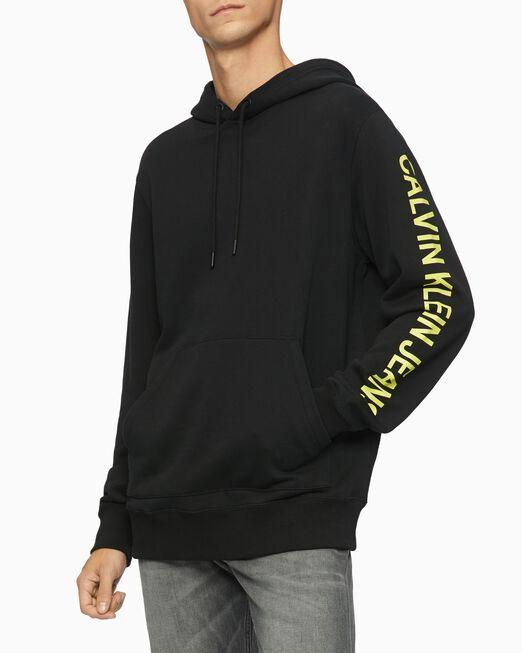 CALVIN KLEIN 남성 블랙 밴드 그래픽 후디 스웨트셔츠
