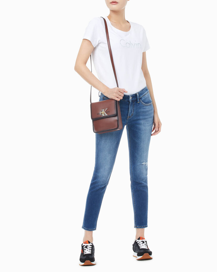 CALVIN KLEIN MONO HARDWARE PATINA CROSSBODY BAG