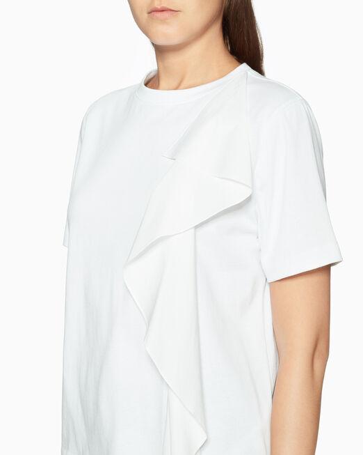 CALVIN KLEIN CLASSIC COTTON POPLIN RUFFLE 티셔츠