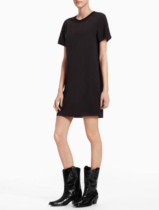 CALVIN KLEIN WOVEN SHEER T-SHIRT DRESS