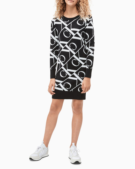 CALVIN KLEIN 여아용 MONOGRAM 니트 드레스