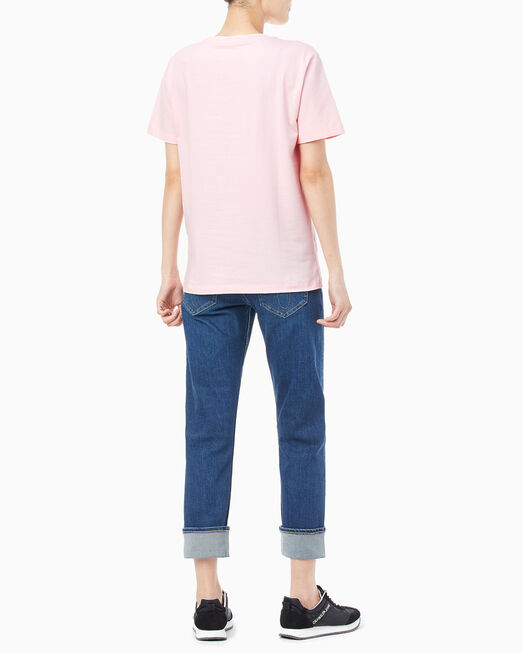 CALVIN KLEIN 여성 플라스티솔 로고 반팔 티셔츠