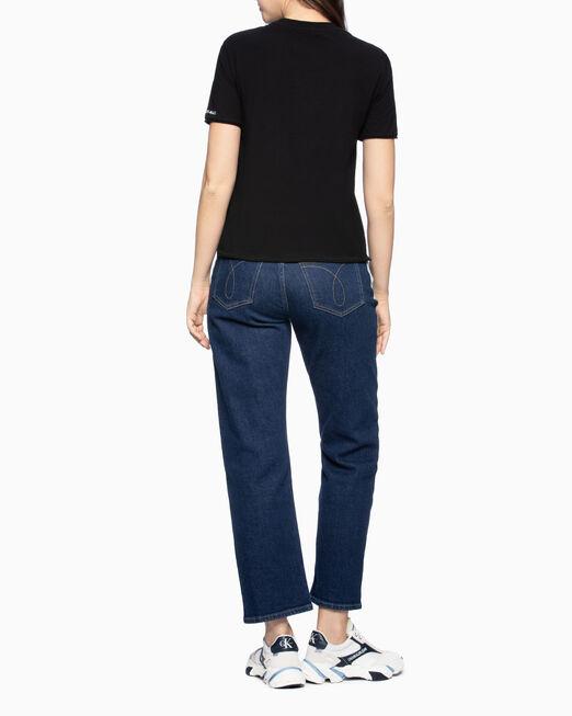 CALVIN KLEIN 여성 로고 모던 스트레이트핏 반팔 티셔츠