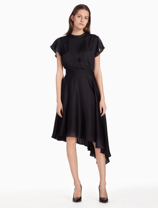CALVIN KLEIN 타이 백 비대칭 드레스