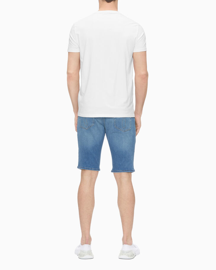 CALVIN KLEIN 37.5 DISTRESSED TAPER SLIM DENIM SHORTS