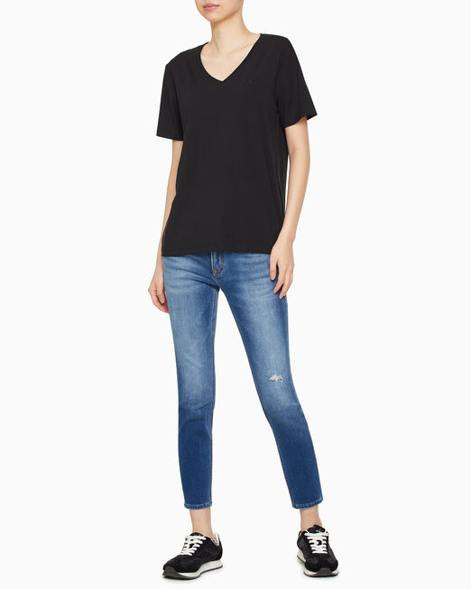 CALVIN KLEIN 여성 썸머 솔리드 니트 티셔츠