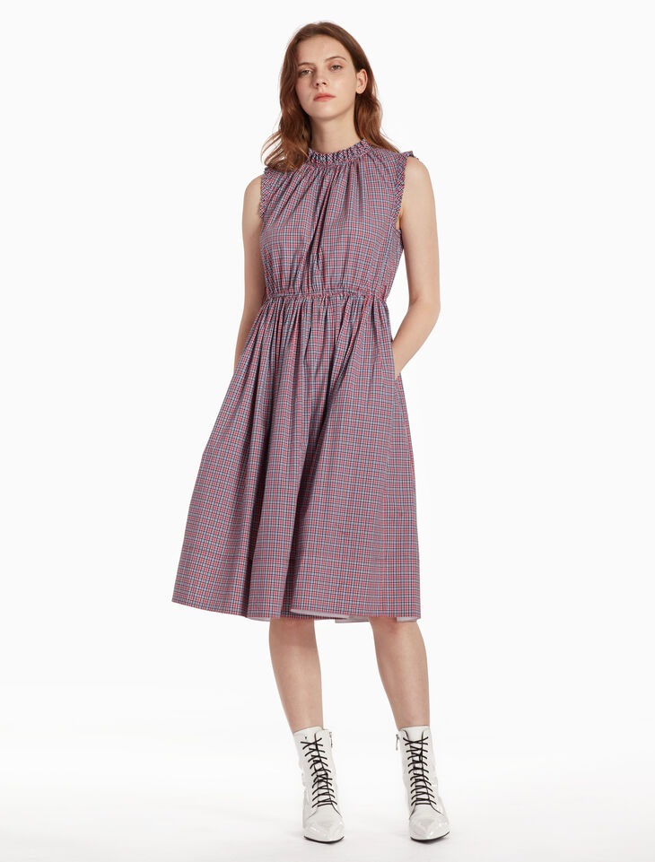 CALVIN KLEIN CHECK FRILL SLEEVELESS DRESS