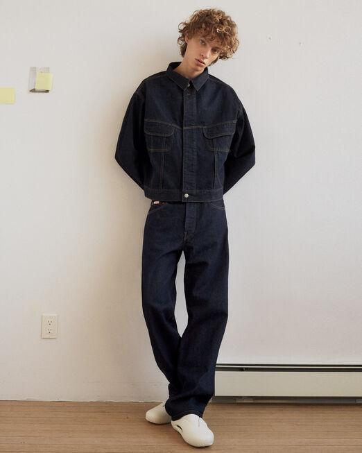CALVIN KLEIN 남성 프로젝트 오렌지  스트레이트 핏 인디고 데님(인디고)