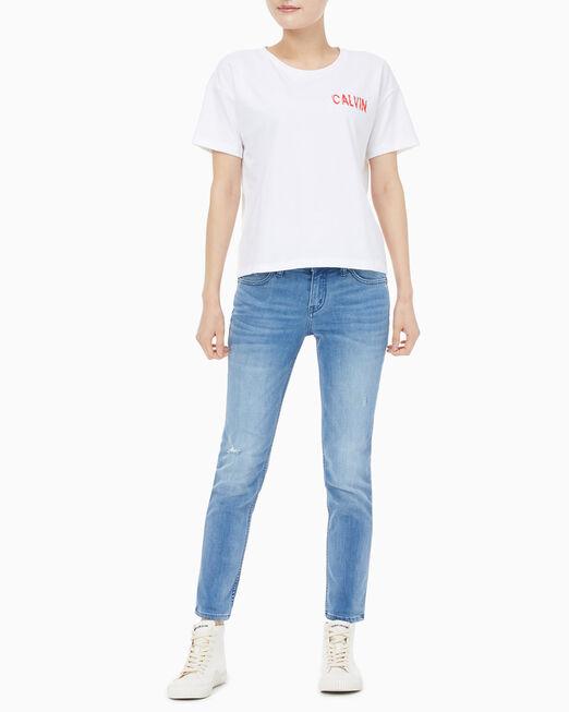 CALVIN KLEIN 여성 리피트 로고 크롭 반팔 티셔츠