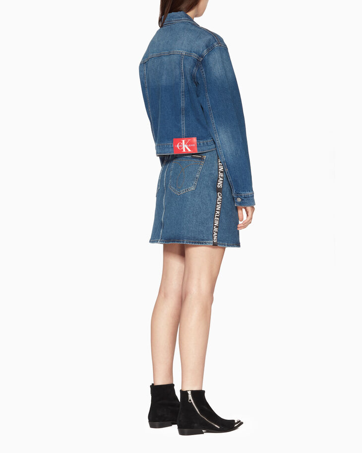 CALVIN KLEIN SIDE LOGO HIGH RISE MINI SKIRT