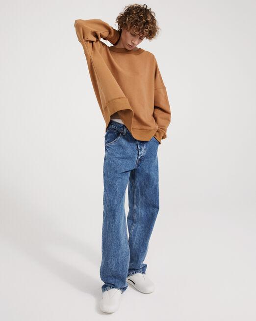 CALVIN KLEIN 남녀공용 프로젝트 오렌지 오가닉 코튼 헤비웨이트 스웨트셔츠(블랙)
