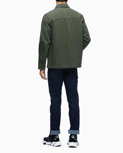 CALVIN KLEIN 남성 에이 믹스드 미디어 셔츠 재킷