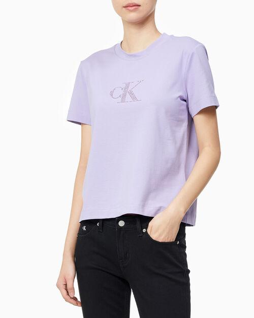 CALVIN KLEIN 여성 임벨리시먼트 반팔 티셔츠