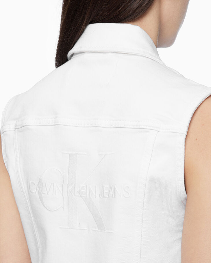 CALVIN KLEIN WHITE ON WHITE DENIM VEST