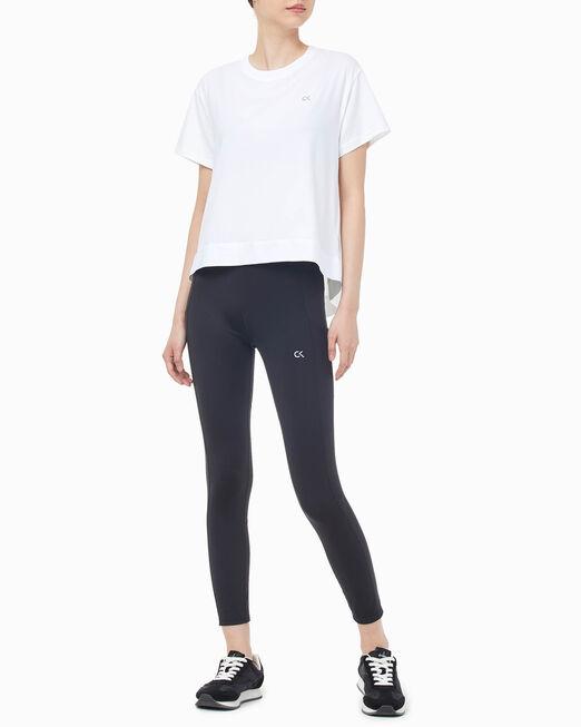 CALVIN KLEIN 여성 액티브 아이콘 백 플리츠 엘라스틱 반팔 티셔츠