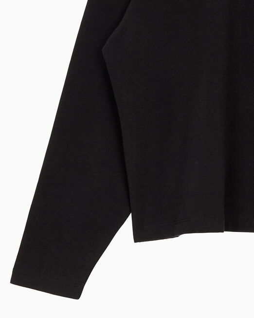 CALVIN KLEIN 여성 루즈핏 마이크로 모노그램 로고 긴팔 티셔츠