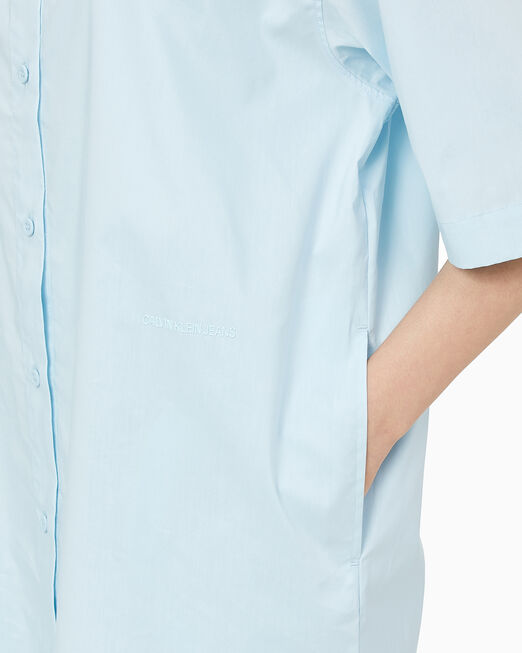 CALVIN KLEIN 여성 로고 테이프 셔츠 드레스
