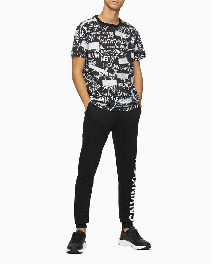 CALVIN KLEIN ORGANIC COTTON ALL OVER LOGO PRINT TEE