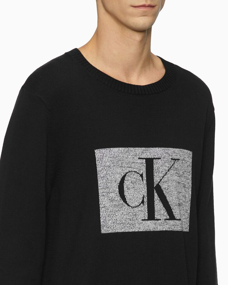 CALVIN KLEIN BLURRED MONOGRAM SWEATER