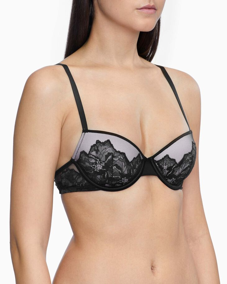 CALVIN KLEIN CK BLACK OVERSIZED TRIM LIGHTLY LINED DEMI BRA