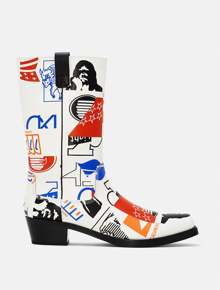 CALVIN KLEIN EST 1978 BENEDICT 圖樣短靴