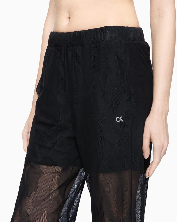 CALVIN KLEIN SHEER LACE WIDE SWEATPANTS