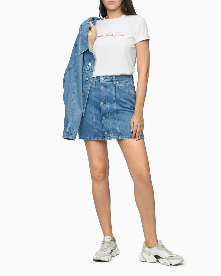 CALVIN KLEIN AR-HR DENIM SKIRT