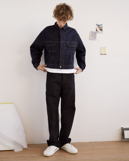 CALVIN KLEIN 남성 프로젝트 오렌지 릴렉스 핏 캔버스 카펜터 데님(블랙)