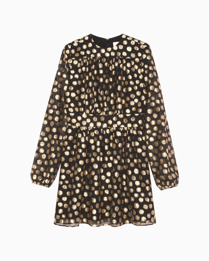 CALVIN KLEIN POLKA DOT GEO LUREX FIL COUPE DRESS