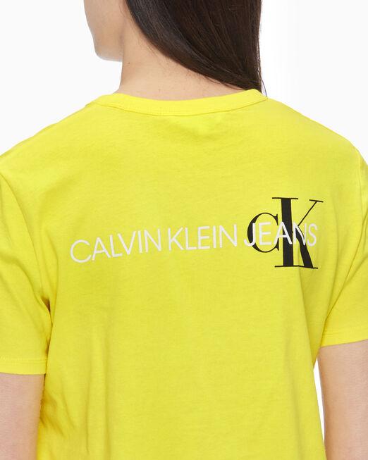 CALVIN KLEIN 여성 백 인스티튜셔널 로고 슬림핏 반팔 티셔츠