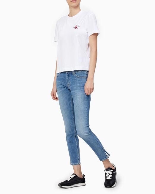 CALVIN KLEIN 여성 모노그램 자수 로고 반팔 티셔츠