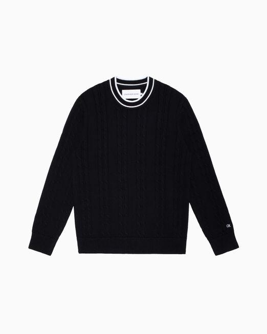 CALVIN KLEIN CABLE KNIT 롱 슬리브 스웨터