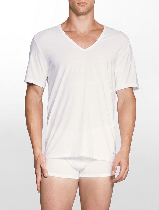 CALVIN KLEIN CK BLACK 코튼 반소매 V넥 티셔츠