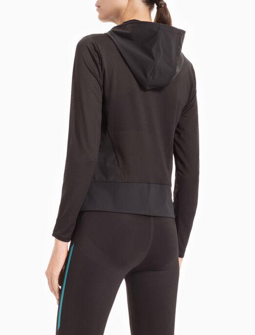 CALVIN KLEIN FS_여성 올 메시 후드 자켓