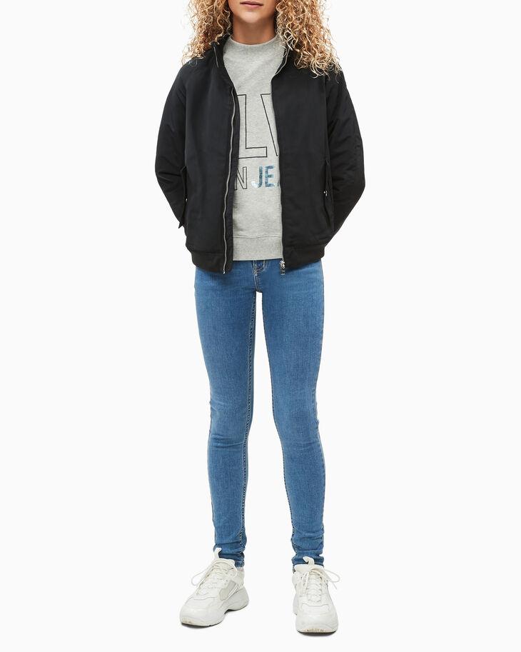 CALVIN KLEIN GIRLS' FOIL LOGO BOXY SWEATSHIRT