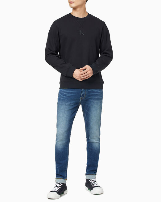 CALVIN KLEIN 남성 모노그램 자수 로고 크루넥 스웨트셔츠