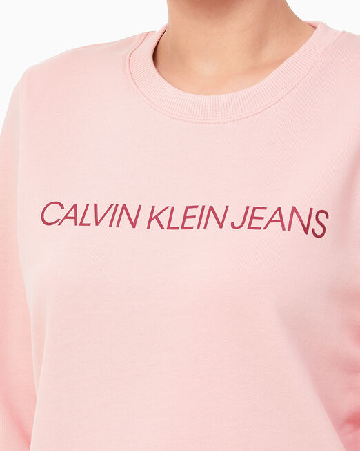 CALVIN KLEIN 여성 인스티튜셔널 레귤러 핏 크루넥 스웨트 셔츠