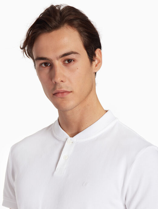 CALVIN KLEIN FS_남성 베이스볼 칼라 반팔 폴로 티셔츠