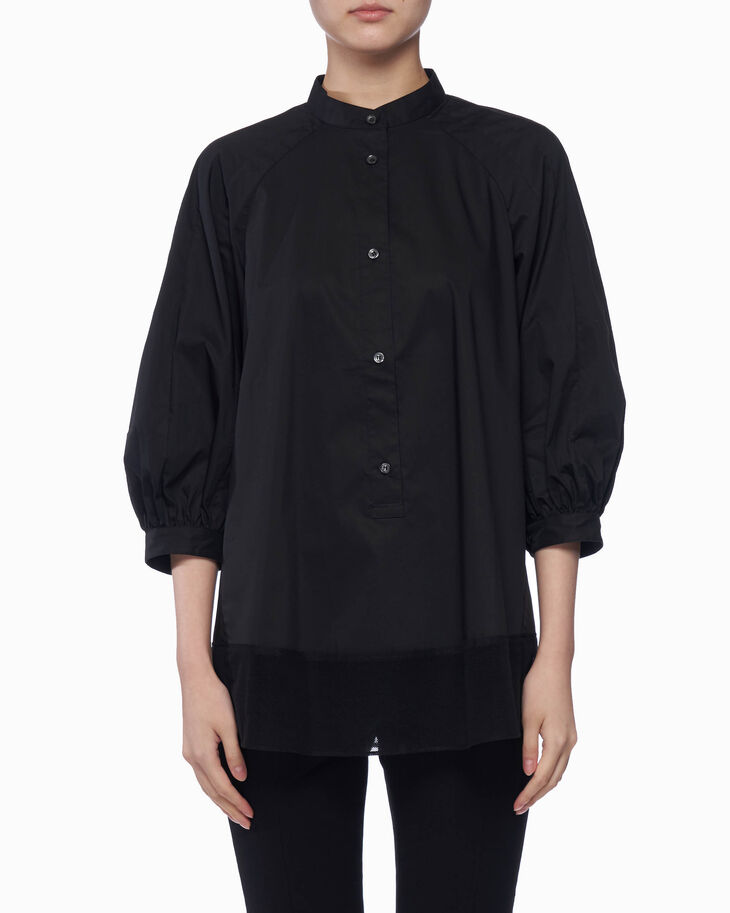 CALVIN KLEIN チュールの裾付き コットンポプリン トップ