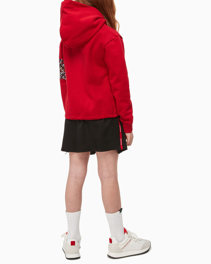 CALVIN KLEIN GIRLS' FLORAL VARSITY PRINT HOODIE