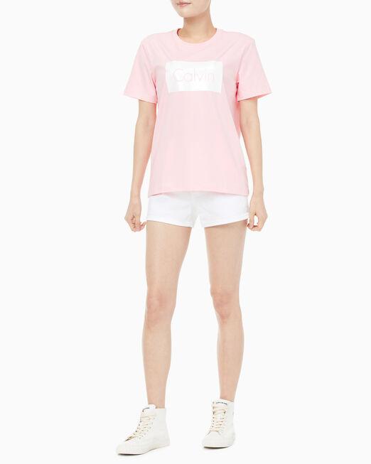 CALVIN KLEIN 여성 글리터 캘빈 박스 반팔 티셔츠