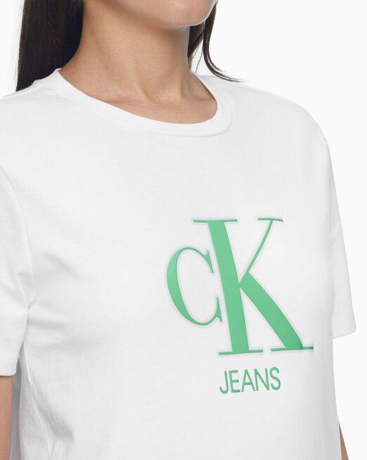 CALVIN KLEIN 여성 네온 그린 실리콘 티셔츠