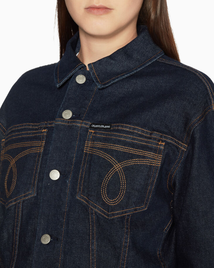 CALVIN KLEIN WOMEN WESTERN STITCH CROPPED DENIM JACKET