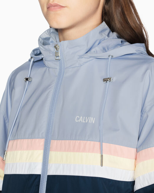 CALVIN KLEIN COLOR TAPE A LINE 후드 재킷