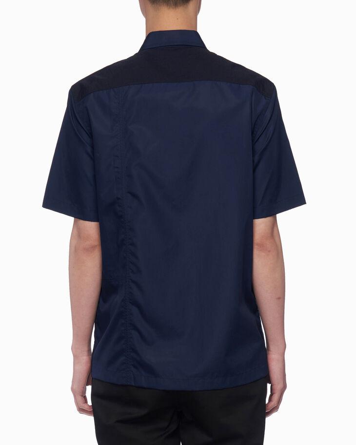 CALVIN KLEIN カラーブロック 半袖 ポプリンシャツ