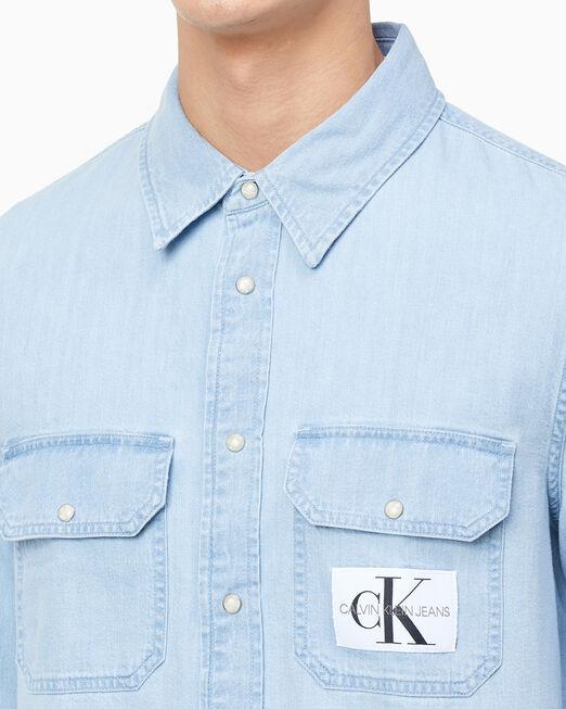 CALVIN KLEIN 남성 모던 유틸리티 데님 셔츠